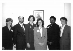 Jill Goldenberg, Associate Director; David Abromowitz, Honoree; Deborah Goddard, Lawyers Clearinghouse Chair; Lauren Rikleen, BBA President; Sandra Henriquez, BHA; Maribeth Perry, Executive Director at 1997 Annual Meeting.